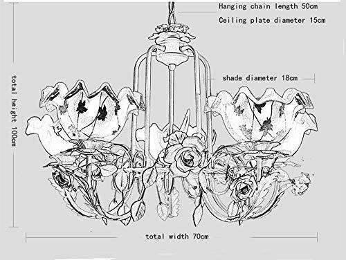 Deckenleuchte Uk-Pastoral Style Wohnzimmer Kronleuchter Schmiedeeisen Blumen für Schlafzimmer, Esszimmer, Wohnzimmer, Bar, Restaurant, Inneneinrichtungen
