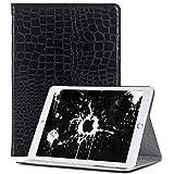 TechCode 7.9 Zoll iPad Mini 1/2/3 Hülle, Luxus Krokodil Haut Muster PU Leder Bookstyle Folio Case Cover Stand Smart Case Geldbörse Ledertasche Hülle Case Schutzhülle für iPad Mini 1/2/3 (Schwarz)