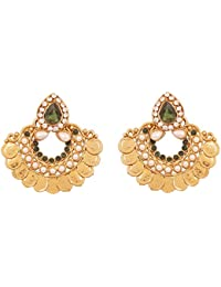 Touchstone Alloy Indian Temple Coin Inspired Faux Pearls Faux Emerald Designer Jewelry Earrings In Antique Gold...