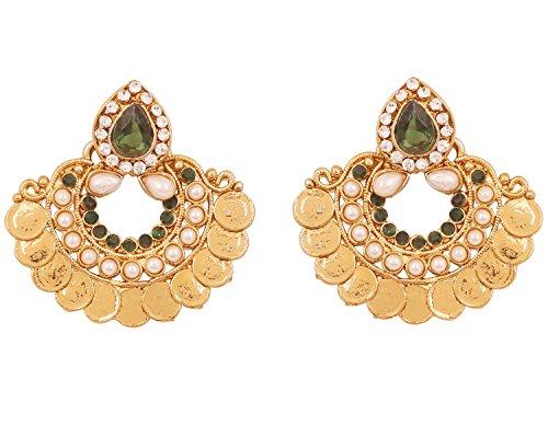 Touchstone orecchini di design di gioielli con monete ispirate al tempio indiano di bollywood per donna verde