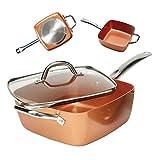 Bonplus Sartén Copper Pan Cuadrada Multiusos tapadera de Cristal y cestillo de...