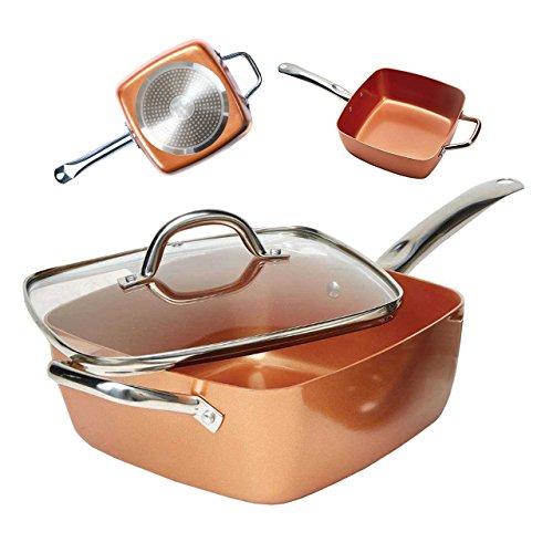 Bonplus Sartén Copper Pan Cuadrada Multiusos tapadera de Cristal y cestillo de Freír/Antiadherente/Aptas para Todo Tipo de cocinas