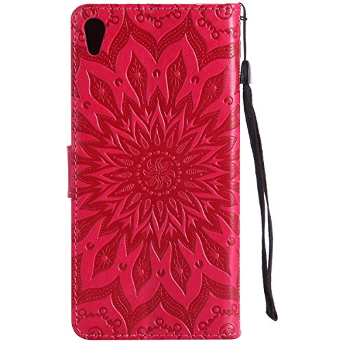 Coque Cuir Etui Pour Sony Xperia M4,Sony Xperia M4 Aqua Portable Coque Housse,Ekakashop Jolie Brun Tournesol Painting Bookstyle Rabat Shell Silicone Etui Flip Cover Smart Case Housse de Protection Por Rouge