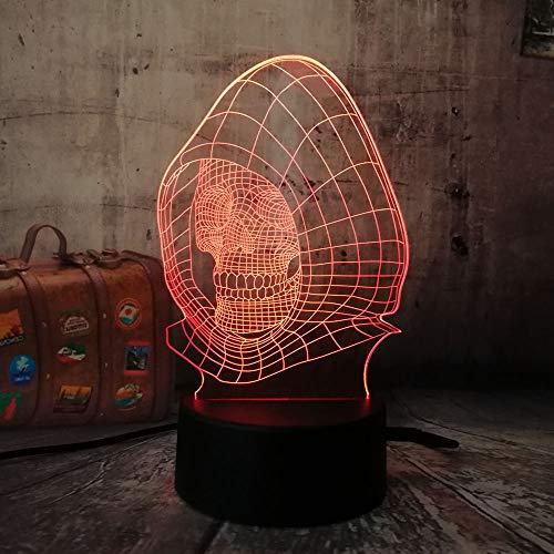3D Nachtlicht Schädel Kopf 3D LED Nachtlicht 7 Farben ändernBar Home Decoration Weihnachtsgeschenk für Kinder LXKMEBA - Dado Kopf