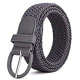XFentech Cintura Intrecciate Uomo e Donna - Cinture Elastiche Elasticizzata in Tessuto Casual, Grigio scuro