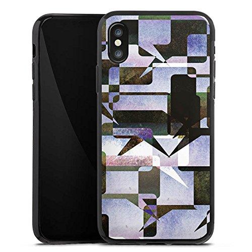 Apple iPhone X Silikon Hülle Case Schutzhülle Grafisch Kollage Modern Silikon Case schwarz