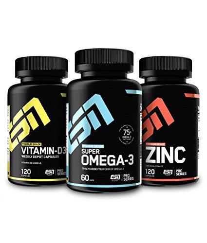 ESN Essential Vitamins & Minerals Pack 1, essentielle Vitamine und Mineralien im Vorteilspack, Zink, Vitamin D3, Omega 3 Fettsäuren
