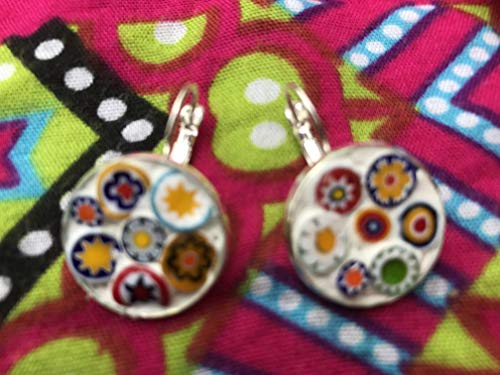 Gorgeous millefiori glass mosaic flower earrings upcycled from broken china plate