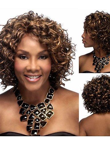 Perruque & xzl Perruques Fashion synthétiques Perruques afro-américain courts perruques de cheveux crépus bouclés bruns pour les femmes