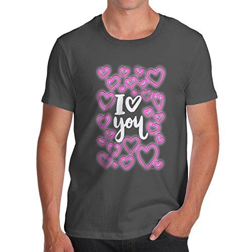 TWISTED ENVY Herren T-Shirt I Love You Neon Hearts Print Dunkelgrau