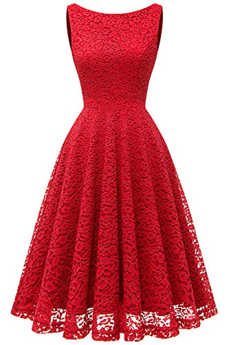 bbonlinedress Damen Retro Charmant Ärmellos Rundhals Knielang mit Spitzen Floral Rockabilly Cocktail Abendkleider Red XL