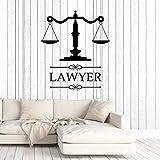 Anwaltskanzlei Zeichen Anwalt Anwaltskanzlei Vinyl Aufkleber personalisiert Aufkleber Firmenname Waage der Gerechtigkeit Fenster Dekoration 42x48cm