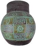 Vase Tonvase Teracottavase Blumenvase aus Ton 30 cm Rotfuchs® Handarbeit Dekoration Zubehör indoor outdoor Türkisgrün gold