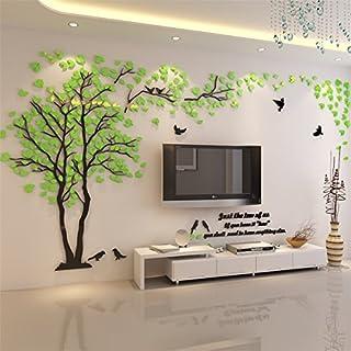 Kenmont DIY 3D Riesig Paar Baum Wandtattoos Wandaufkleber Kristall Acryl  Wandtattoo Aufkleber Vögel Vine Zweig Wandkunst