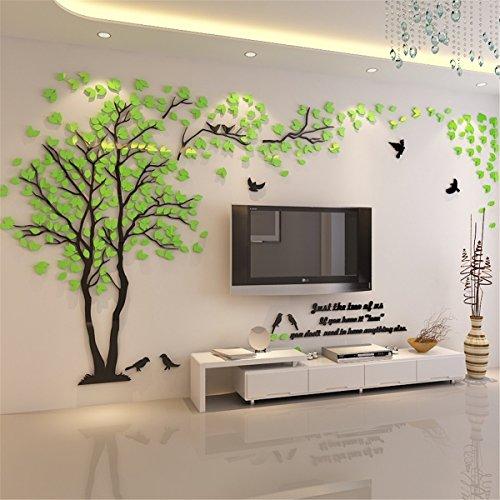 Kenmont DIY 3D Riesig Paar Baum Wandtattoos Wandaufkleber Kristall Acryl Wandtattoo Aufkleber Vögel Vine Zweig Wandkunst Wohnzimmer Schlafzimmer Kinderzimmer Sticker (Large, Grün, Recht)