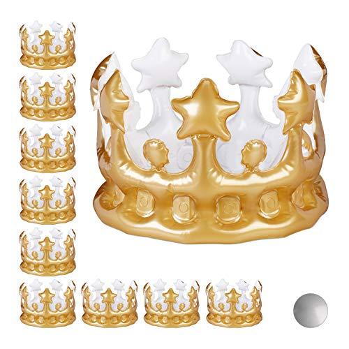 Relaxdays 10 x Aufblasbare Krone, Kostümzubehör Karneval, Accessoire für Prinzessin & König, JGA, Geburtstagskrone, Gold -