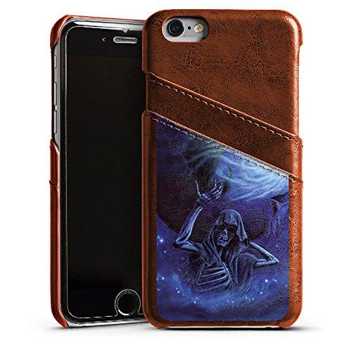 Apple iPhone 5s Housse Étui Protection Coque Crâne Os Tête de mort Étui en cuir marron