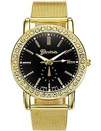 JSDDE Elegantes Reloj de Acero inoxidable por Hombre Mujer para Novios Parejas con Correa Elastica Reloj Cuarzo Digital