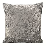 Grey / Silver Plain Crushed Velvet 18 inch Cushion Cover
