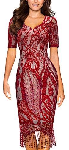 HOMEYEE Frauen elegante Spitze-Hülsen-V-Ansatz Ineinander greifen-dünnes Bodycon Tassel formales Weinlese-Kleid B337 Rot