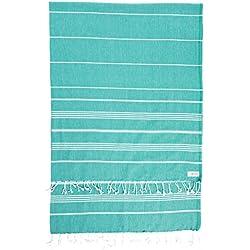 Bersuse 100% Algodón - Anatolia XL Toalla turca de manta - Cama multiusos o colchón, cubierta de mesa o estera de picnic - Fouta Peshtemal para Baño en la Playa - Pestemal Clásica de Rayas - 155 X 210 (Verde azulado)