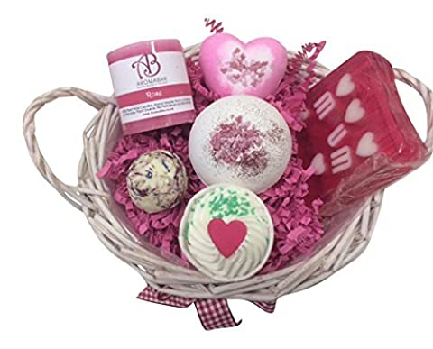 Mothers Day Gift Basket with Heart Bath Bomb, Bath Creamer, Truffle, Mum Soap, Rose Candle and Luxury Bath Bomb with Glitter Ideal for Birthdays or