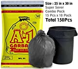 #9: Swadesh A1 Garbage Bags Size Large 25 inch x 30 inch (Black) Pack of 10 (150 Bags) - Super Saver Pack, Simple Quality