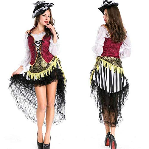 KAIDILA Halloween Kostüm Erwachsene weibliche Piraten Suit Cosplay Frauen Maskerade Kleid Kostüm Frau Bühne Outfit (Pirat Kostüm Frau)