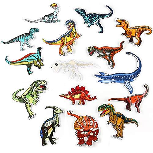 Joyfeel's Store Bügelflicken Kinder,15 Stück Patches zum Aufbügeln Dinosaurier Aufnäher Applikation Flicken Zum Aufbügeln für DIY T-Shirt Jeans Kleidung Taschen (#1)