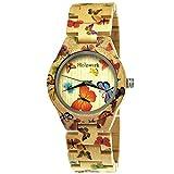 Handgefertigte Holzwerk Germany® Designer Damen-Uhr Öko Natur Holz-Uhr Armband-Uhr Analog Klassisch Quarz-Uhr mit Schmetterling Butterfly Motiv