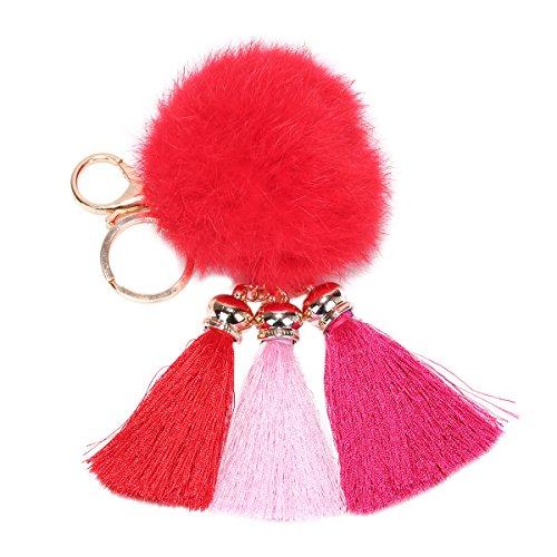 ZPL Moda pelliccia palla pompon nappa portachiavi auto portachiavi , big red