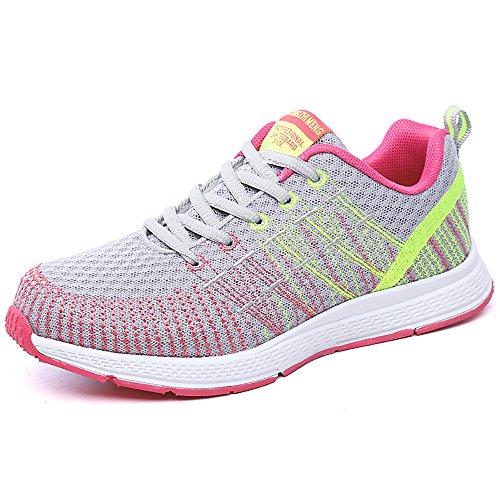 Zapatillas de Deportivos de Running para Mujer Gimnasia Ligero Sneakers Gris-Amarillo 39