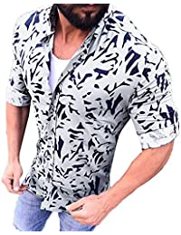 BUSIM Men's Long Sleeved Shirt Autumn Fashion Floral Print Personality Fashion Casual Lapel T-Shirt Top Trend...