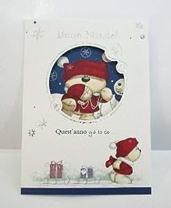 """Biglietto Auguri Natale Fizzy Moon """"la nostra Amicizia!Auguri di buon Natale e felice Anno Nuovo!"""" 12x16,5cm con busta"""