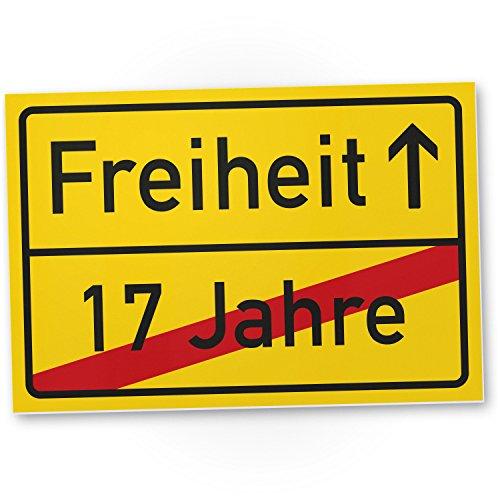 Freiheit (17 Jahre) - Kunststoff Schild / Ortsschild gelb, Geschenk 18. Geburtstag bester Freund / Freundin, Geschenkidee Geburtstagsgeschenk Volljährigkeit, Kleines Geschenk 18er Geburtstagsparty