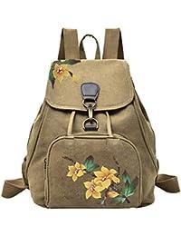 962871de37e5e JUND Vintage Ethno Leinwand Rucksack Frauen Lässig Blumenmuster  Reiserucksack mit Klappe Schlicht Daypacks