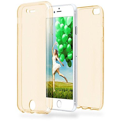 Double Case pour iPhone 6 / 6S | Couvre étui en silicone transparent entier | Thin 360° complet cas smartphone en OneFlow | Couverture arrière en Incolore GOLD