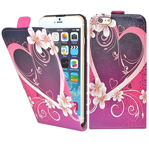 Apple iPhone 5 / 5s Etui Coque - Housse Etui Portefeuille Pu Cuir Rouge Pour Le Apple iPhone 5 5S - thinkmobile Cœurs 2 Flip