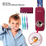 #2: House of Quirk 2 in 1 Automatic Toothpaste Dispenser and Tooth Brush Holder Set Automatic Toothpaste Dispenser (Maroon)