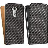 LG G3 Tasche Schutz Hülle Walletcase Bookstyle Carbon Look Schwarz Grau Metall