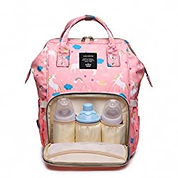 Diaper Bag Backpack Multi-function Large Capacity Waterproof, Baby Changing Backpack Mummy Bag Organiser Pink