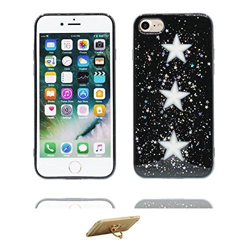 iPhone 6 Custodia, Design morbido mobile Case iPhone 6S copertura Cover Shell Graffi Resistenti [ Cartoon Noce di cocco ] e ring supporto Nero 5