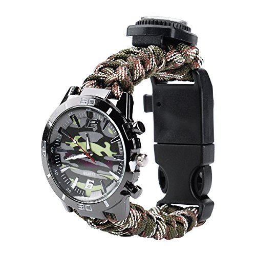 Survival Bracelet Watch, Men & Women Emergency Survival Watch with Paracord/Whistle/Fire Starter/Scraper/Compass and Thermometer, 6 in 1 Multifunctional Outdoor Gear (Green)
