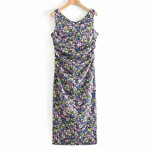 QAQBDBCKL Damen Kleid Mode Multi-Color kleine Blumenfalten O-Neck Print Damen Kleid lässig Urlaub Elegante Pendler Markenkleid - Pailletten Multi Color Print-rock