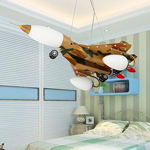 LED-Karikatur-kreative Pers5onlichkeit-Tarnungs-Flugzeug-Kinderzimmer-Eisen-Kronleuchter-Schlafzimmer-Jungen-Raum-Kronleuchter - 2