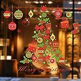 Prevently Fensterbilder für Weihnachten,Fensterdeko Weihnachtsbaum Weihnachtskugel Christmas Schaufensterdekoration Wandaufkleber Fenster Aufkleber Dekoration