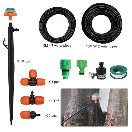 Upgraden DIY 10 M Dual Path Automatisch Drip Bewässerungssystem Kits 360° Rotary Düse Bewässerung Spray Self Watering Kits für Garten Landschaft(10M,33FT)
