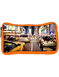 Snoogg Eco Friendly Canvas New York Time Square At Night Designer Student Pen Pencil Case Coin Purse Pouch Cosmetic...