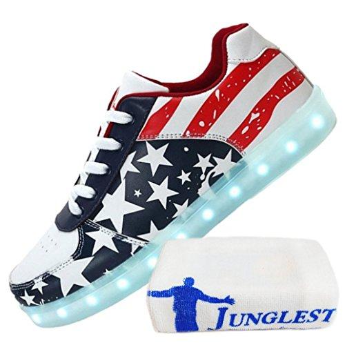 [Present:kleines Handtuch]JUNGLEST® Ezflora Unisex Damen Herren USB Charging LED leuchtende Schuhe blinkende amerikanische Flagge laufende Schuhe leuchten Paare zufällige Turnsc Rot