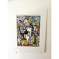 quadro moderno re a cavallo 29x20 cm su tela con passepartout alessandro siviglia opera certificata retouche con acrilico